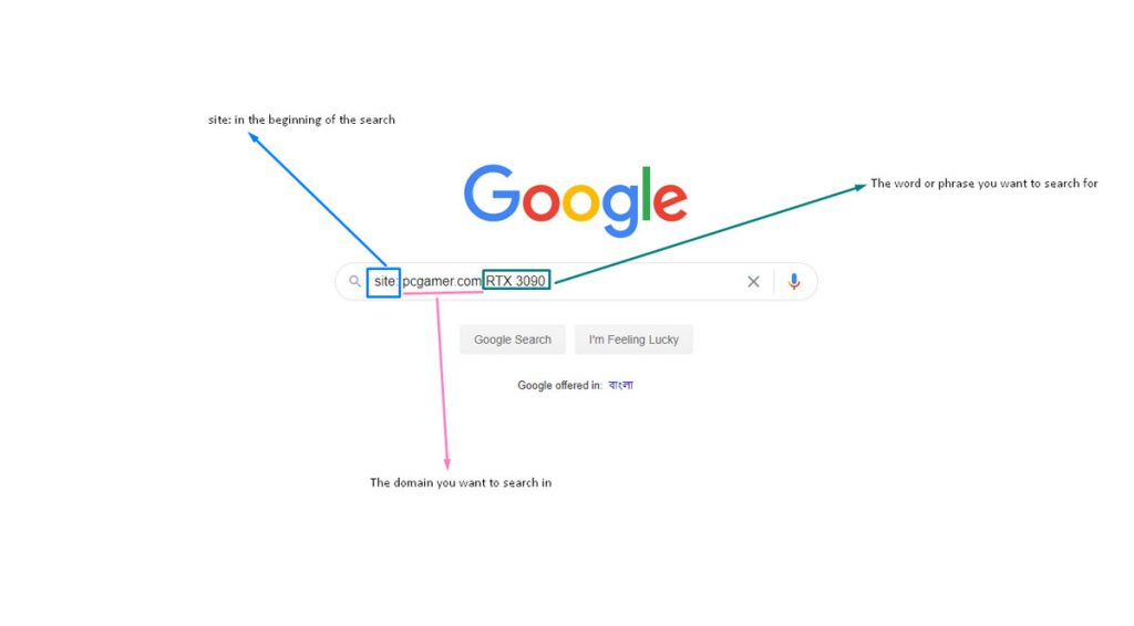 Find a word in a website using Google